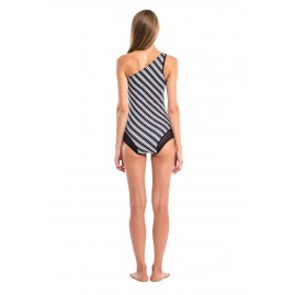 GLIDESOUL VIBRANT STRIPES COLLECTION ONE SHOULDER ONE PIECE SWIMSUIT