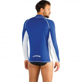 Cressi Men's Rash Guard Long Sleeve Watersport Shirt - Blue/White