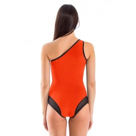 Glidesoul Signature Assimetric Neck One Piece Swimsuit Peach/ Black