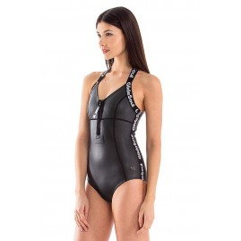 Glidesoul Signature Halter Neck Front Zip One Piece Swimsuit BLack GLide Skin